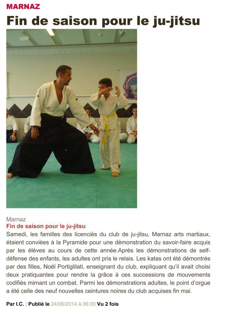 Article Le Dauphiné 21 juin 2014