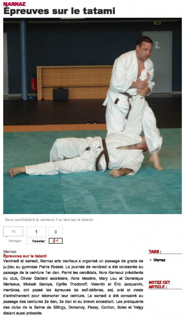 Marnaz -Épreuves sur le tatami